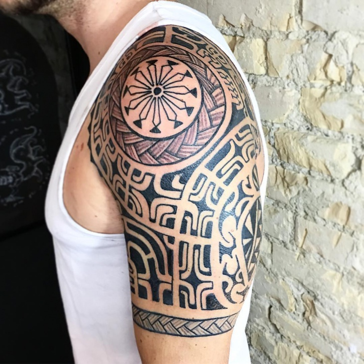 Hawaiian Half Sleeve Tattoo Design