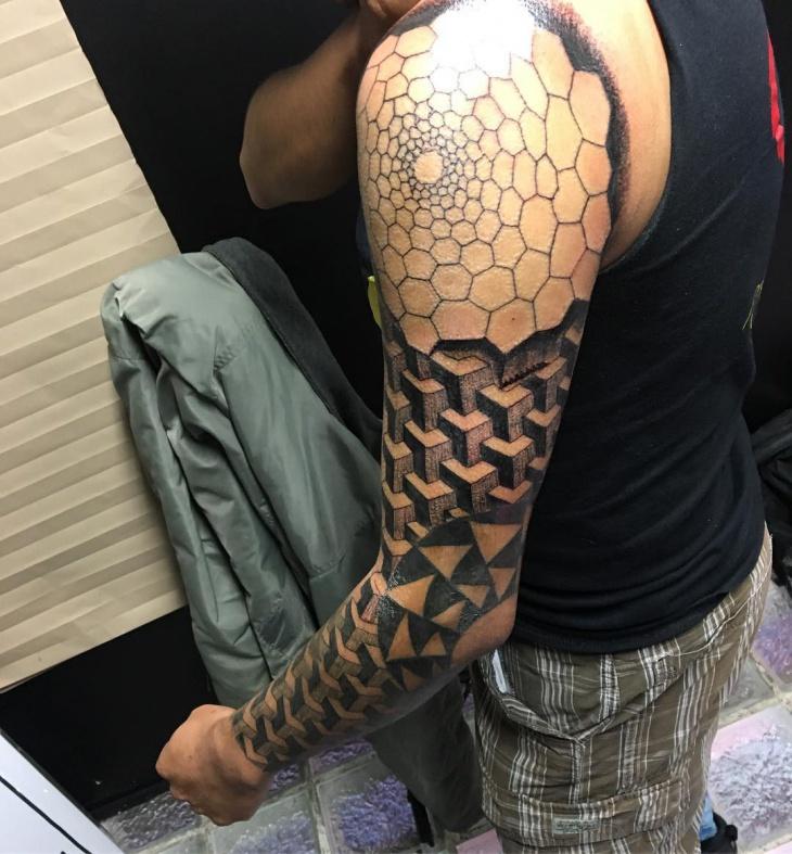 Geometric Pattern Sleeve Tattoo