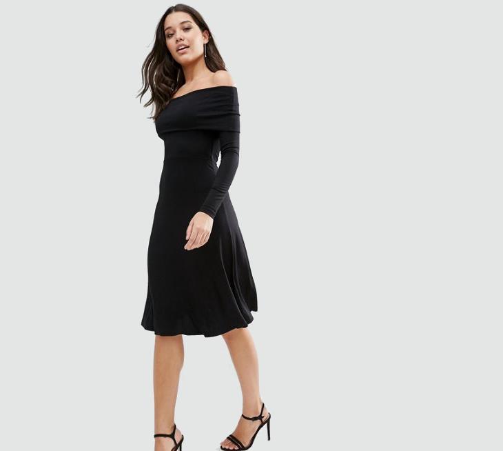 black long sleeve formal dress