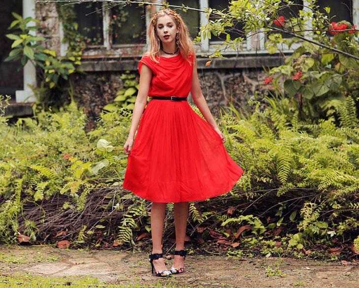 vintage red formal dress1
