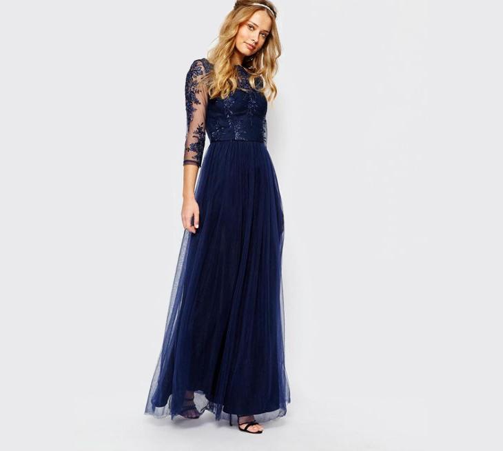 long sleeve lace formal dress
