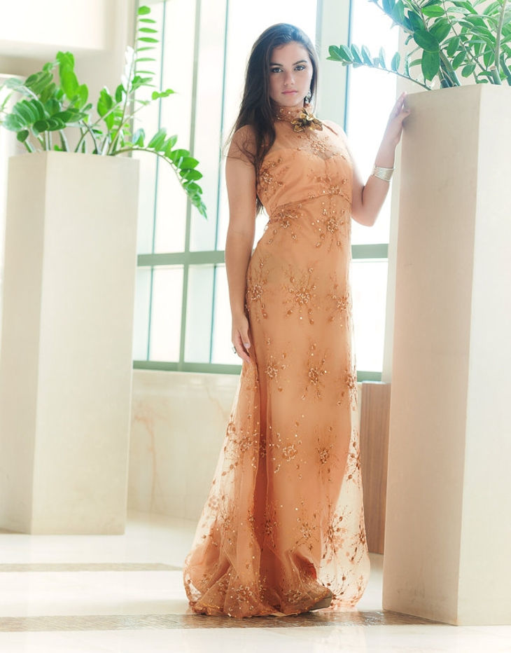 gold lace formal dress