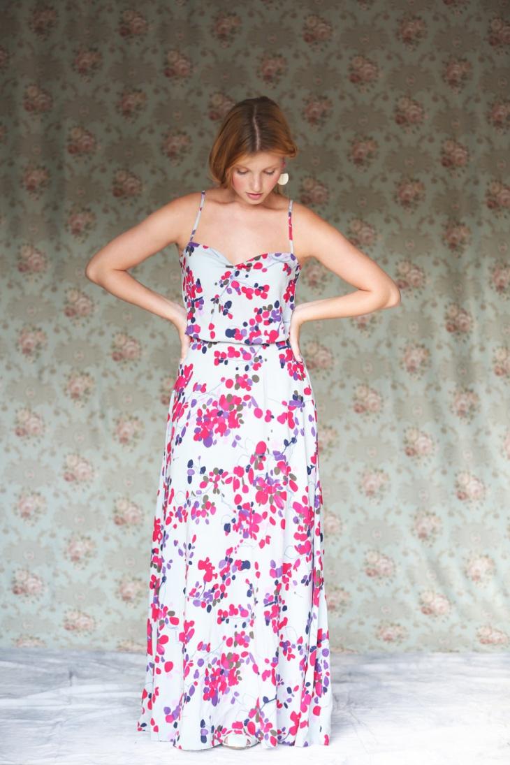 printed floral formal dress