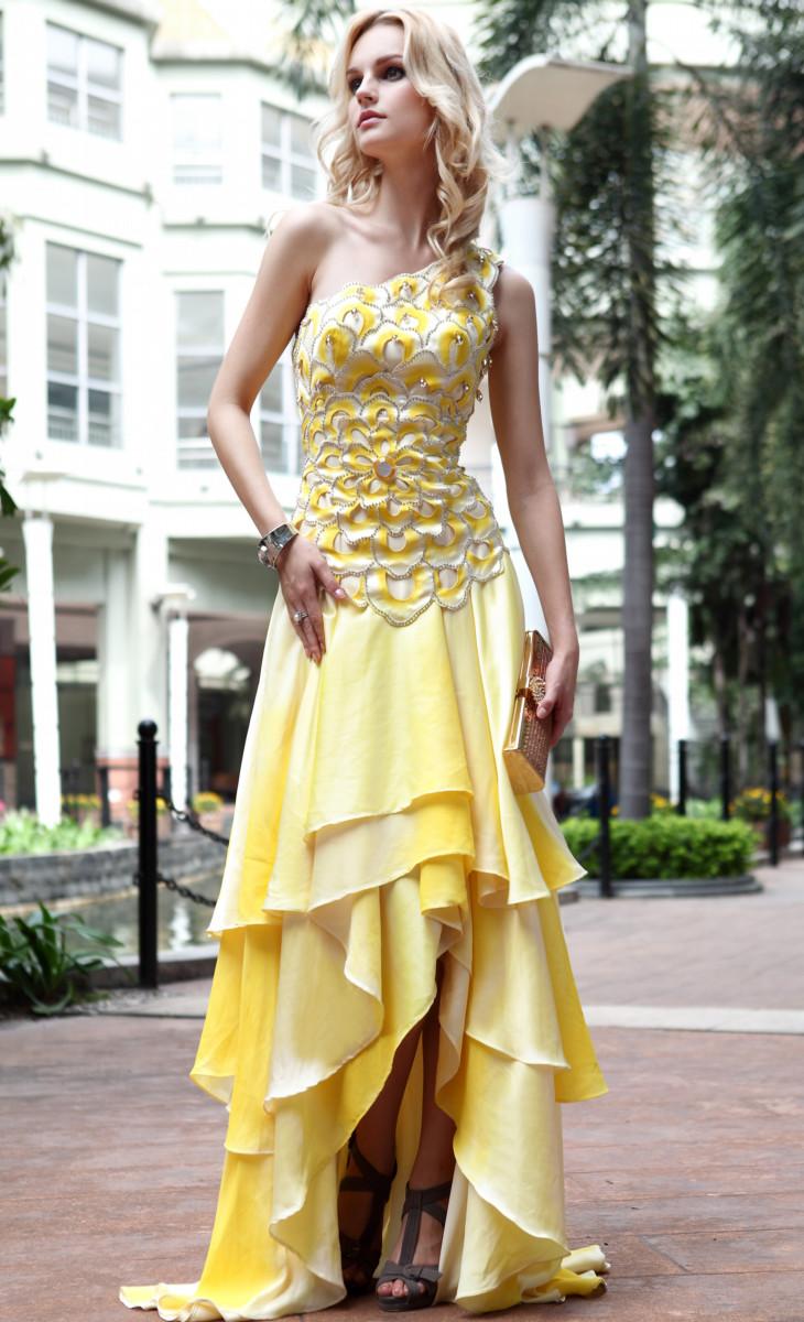 gold beaded formal dress