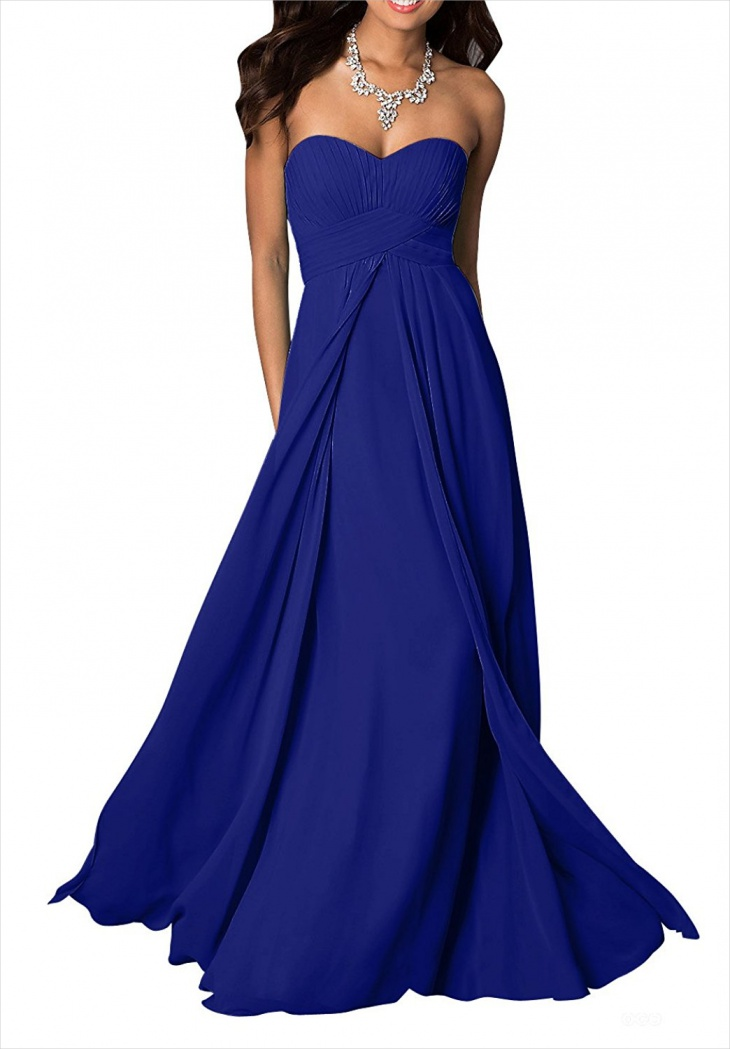 Royal Blue Chiffon Formal Dress