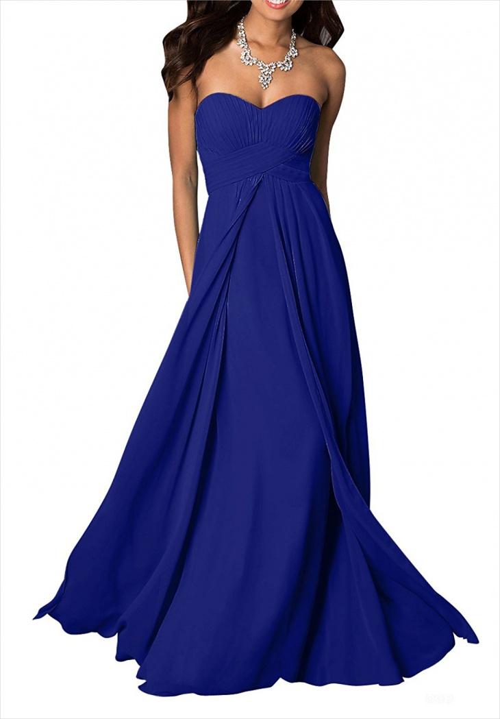 royal blue chiffon formal dress