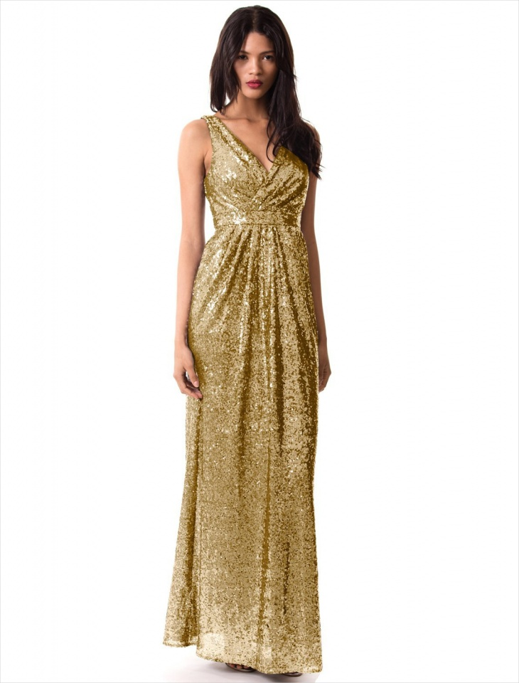 Long V-Neck Sequin Formal Dress