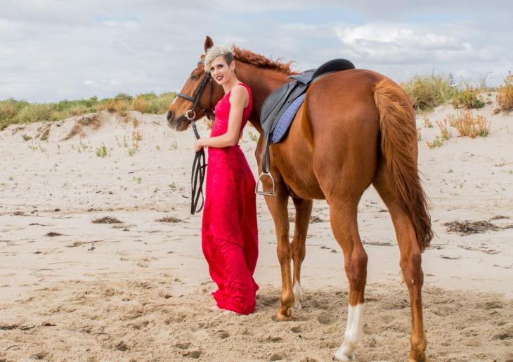 red stretch velvet formal dress
