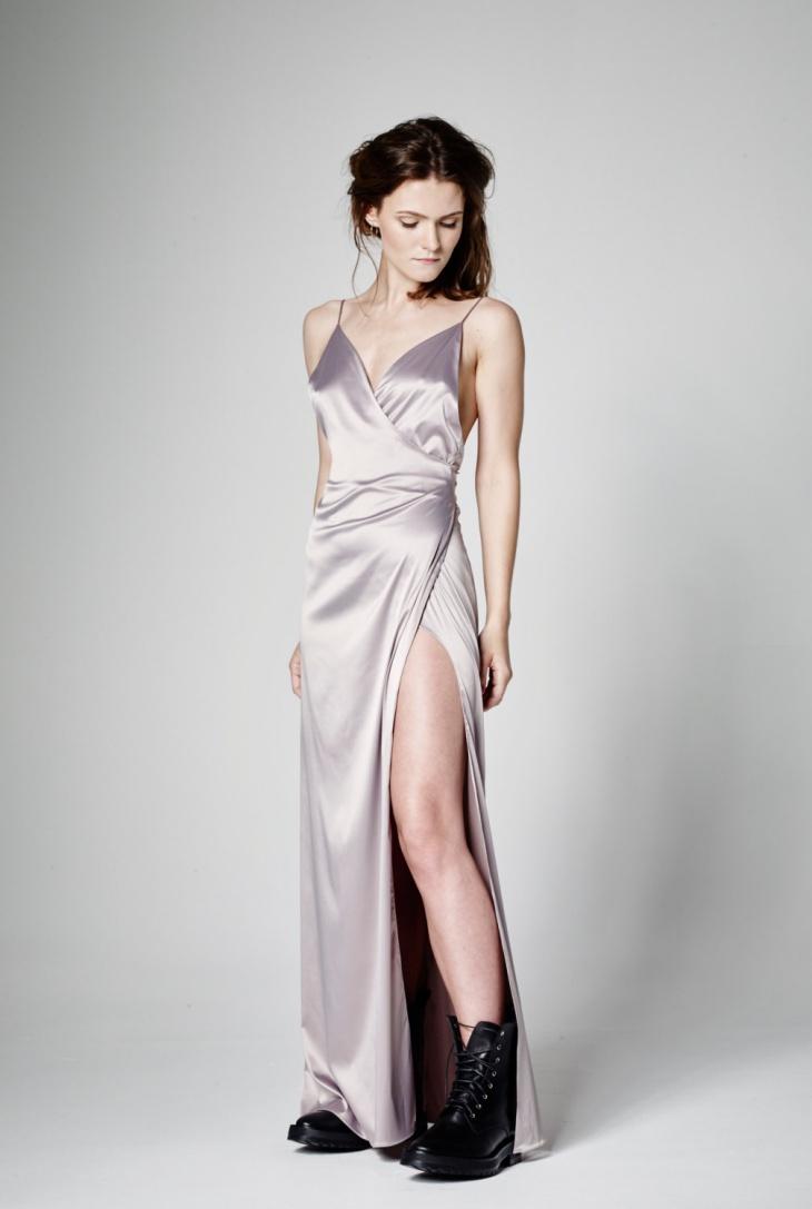 long formal wrap dress