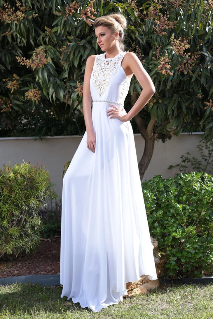 white formal prom dress
