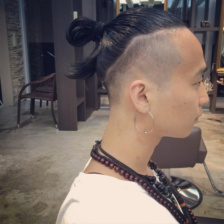 shaved sides samurai haircut