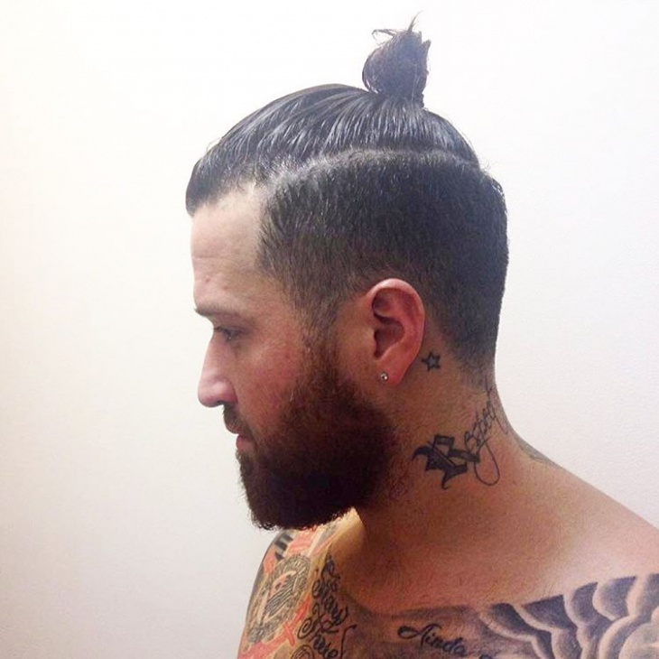 samurai hairstyle with beard