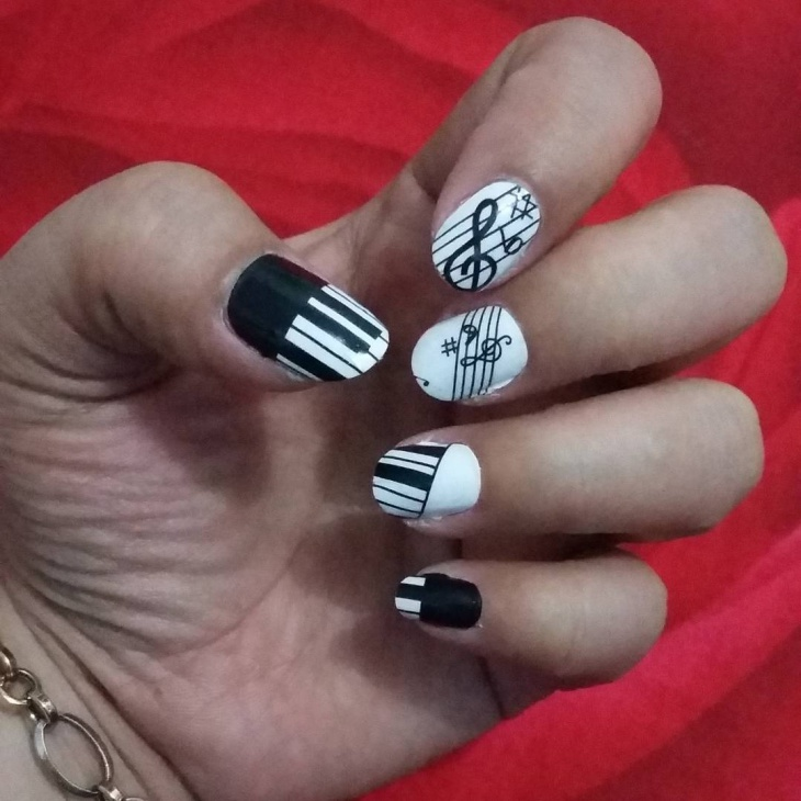 Black and White Piano Nail Art