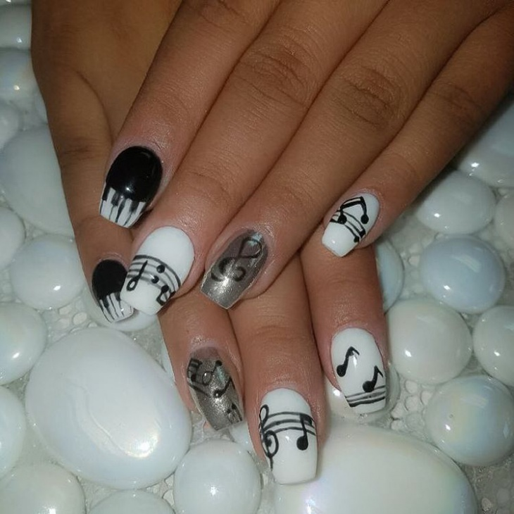 Piano Keys Nail Design
