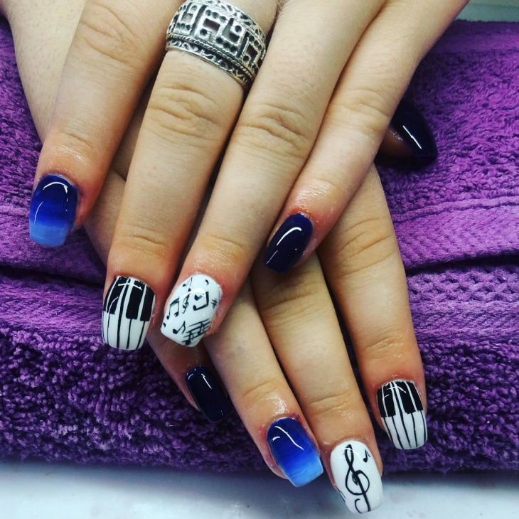 Acrylic Piano Nail Art Idea