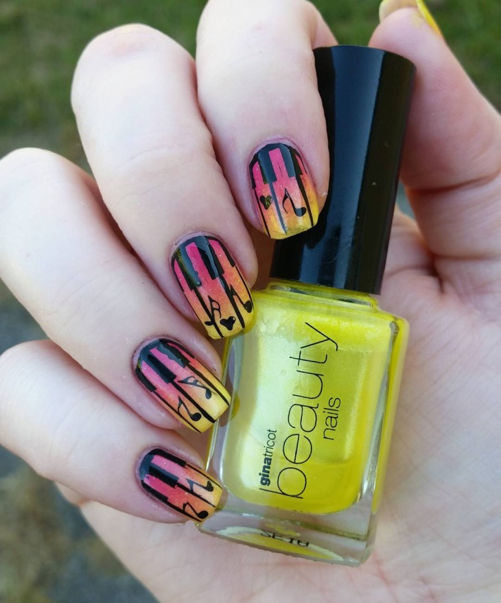 Yellow and Pink Piano Nails
