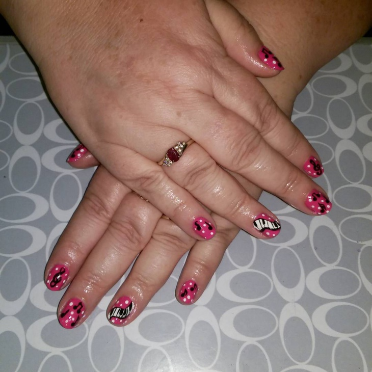 Pink Cute Piano Nail Design