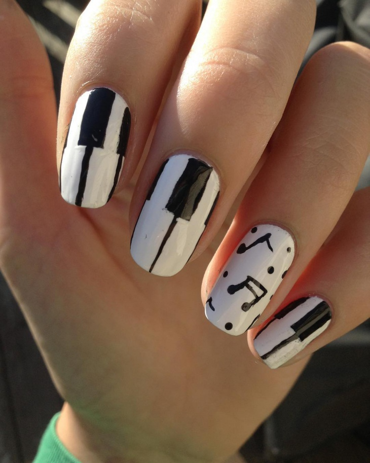 Long White Piano Nail Art