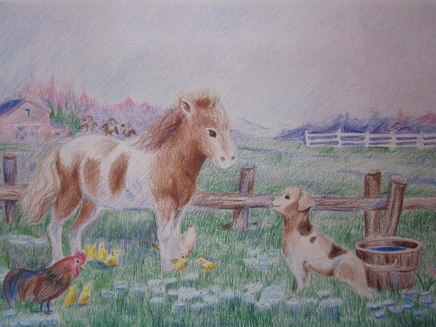 colorful farm animal drawing