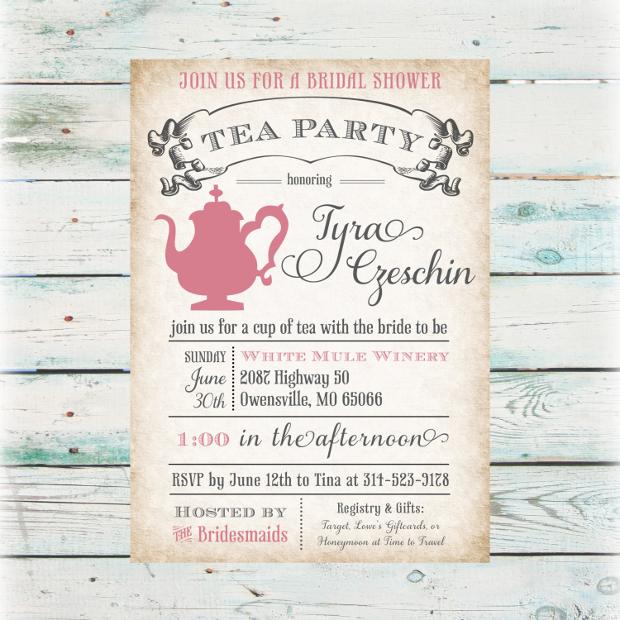 Tea Party Printable Invitations  BesikEightyCo