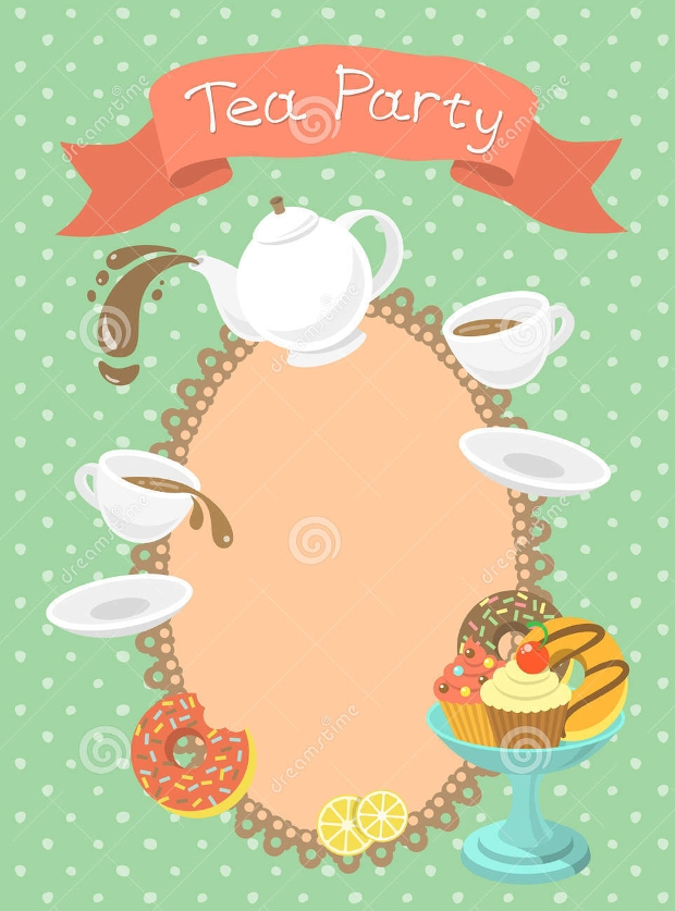 Tea Party Invitations  Printable Psd Ai Vector Eps  Design
