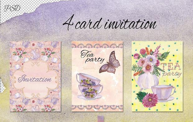 Watercolor Tea Party Invitation
