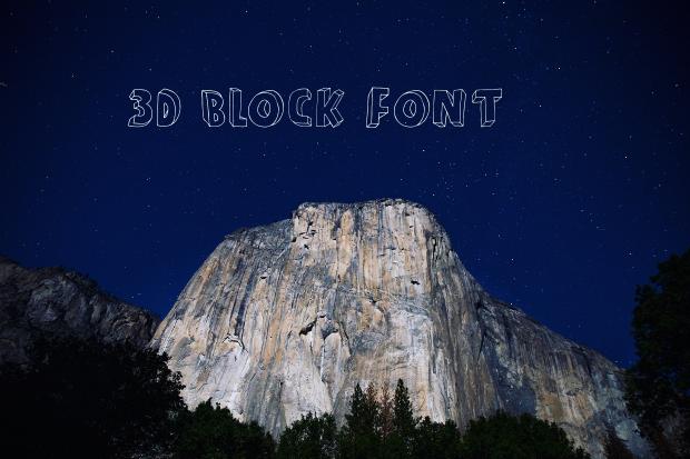 3d block font