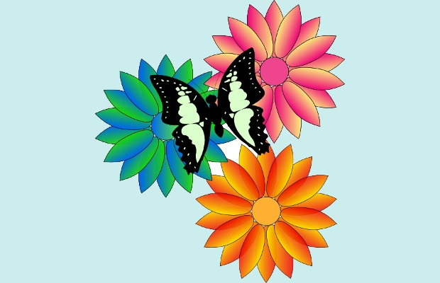 butterfly on flower clipart