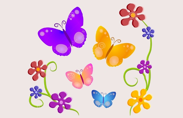 butterfly flowers clipart