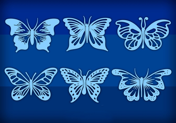 blue hand drawn butterfly clipart