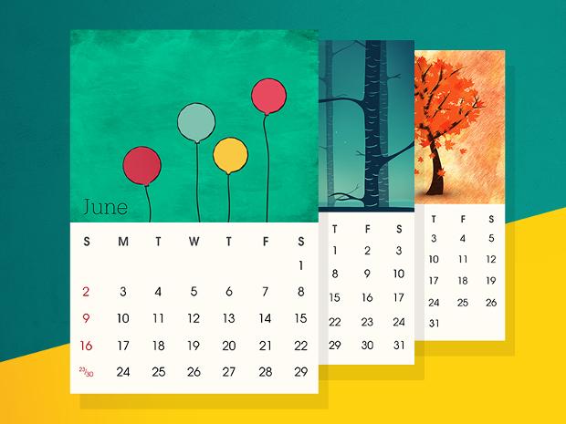 colorful desk calendar