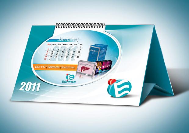 blue desk calendar