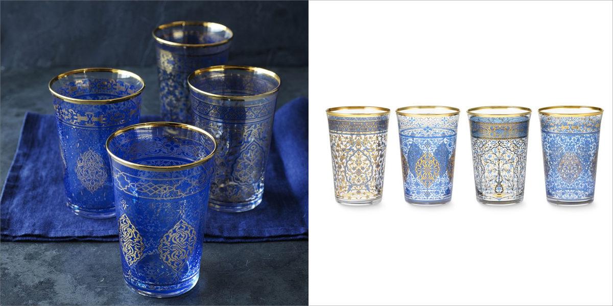 williams sonoma blue mosaic tumblers