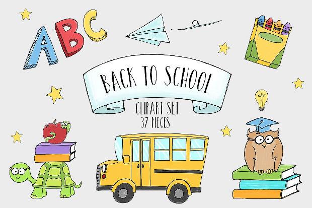 20  school cliparts - vector eps  jpg  png
