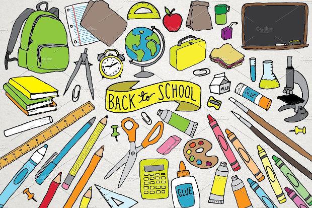 hand drawn school clipart