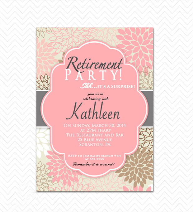 15 Retirement Invitations Printable PSD AI EPS – Printable Retirement Party Invitations
