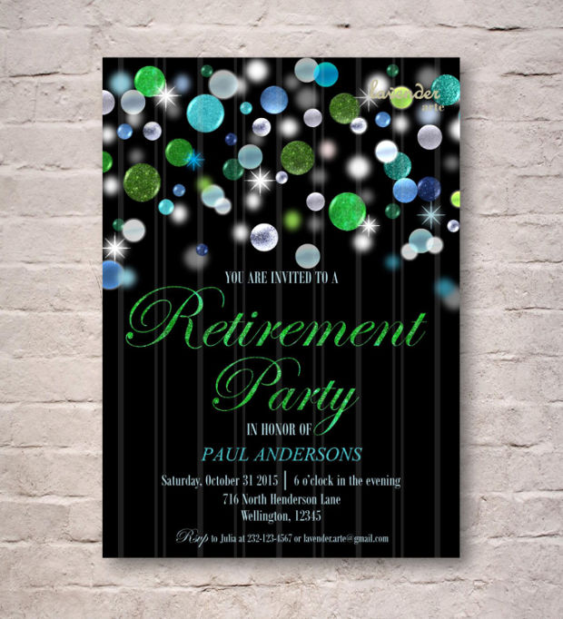 Glitter Retirement Party Invitation
