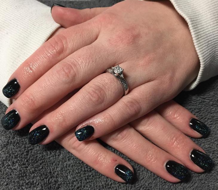 black glitter gel nail design