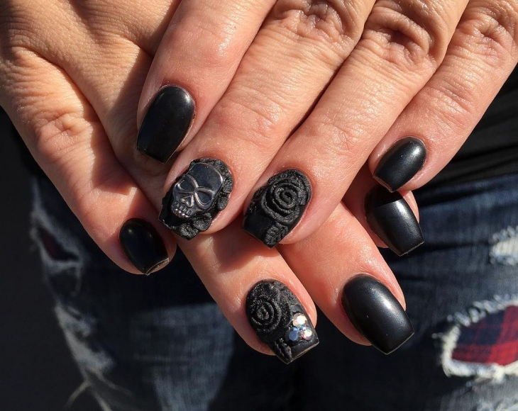 matte black gel nail design - Gel Nail Design Ideas