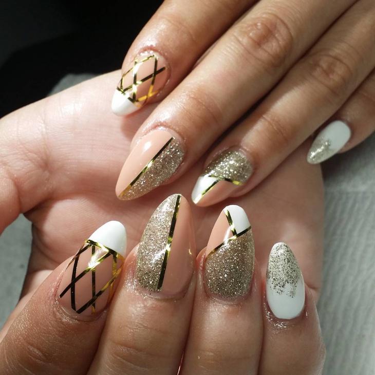 gel acryic glitter nail design