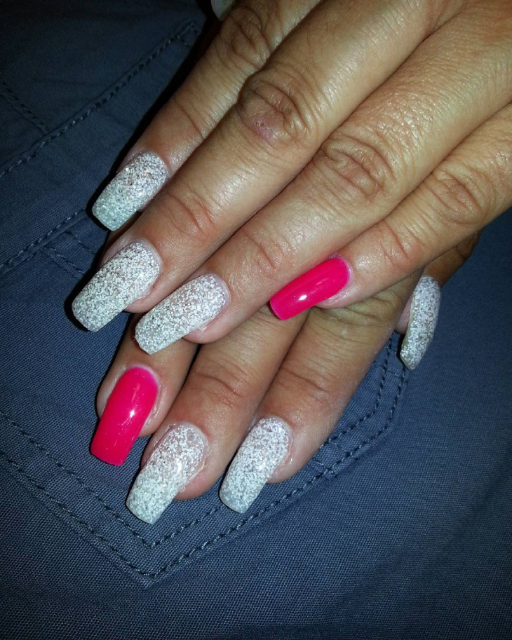 white glitter gel nail design - Gel Nails Designs Ideas