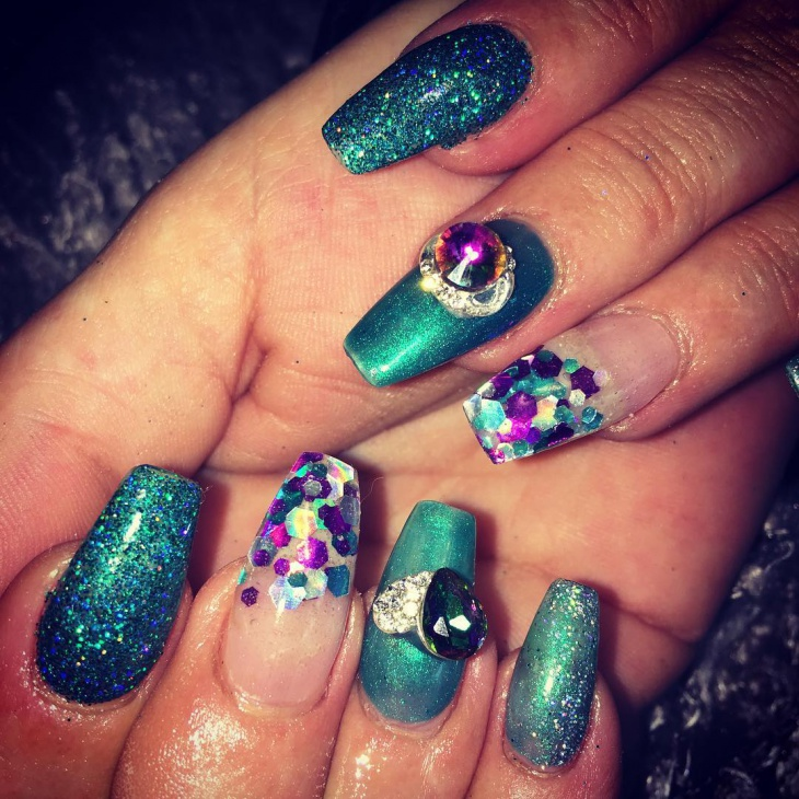 3d crystal gel nail design
