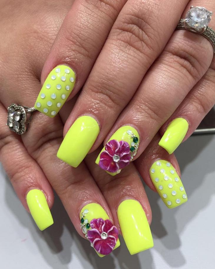 3d floral gel nail design