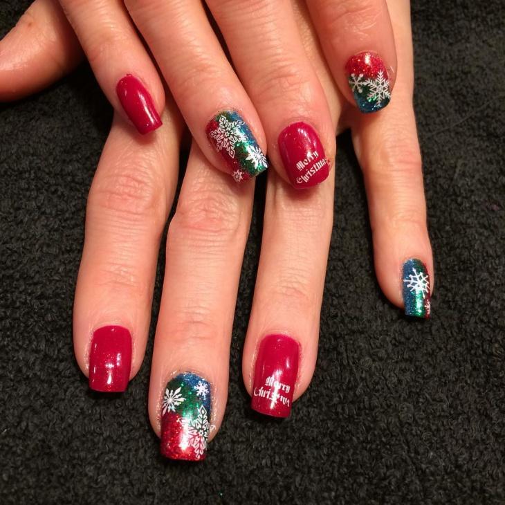 christmas glitter gel nail design