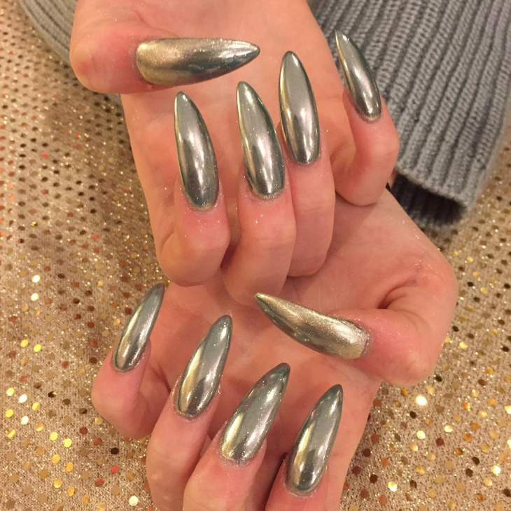 long pointed gel nail design