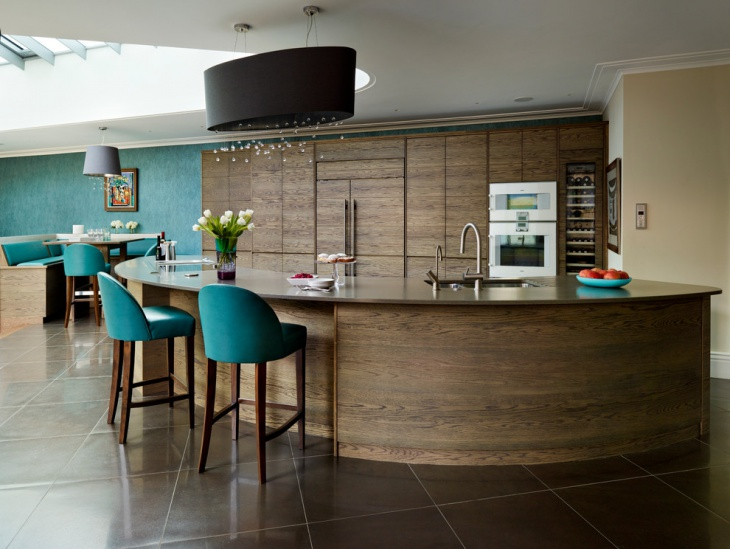 Wood Curved Kitchen Island
