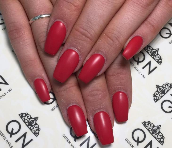 red matte gel nail design