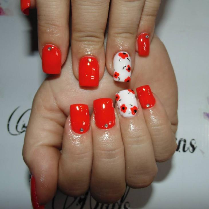 spring floral gel nail design