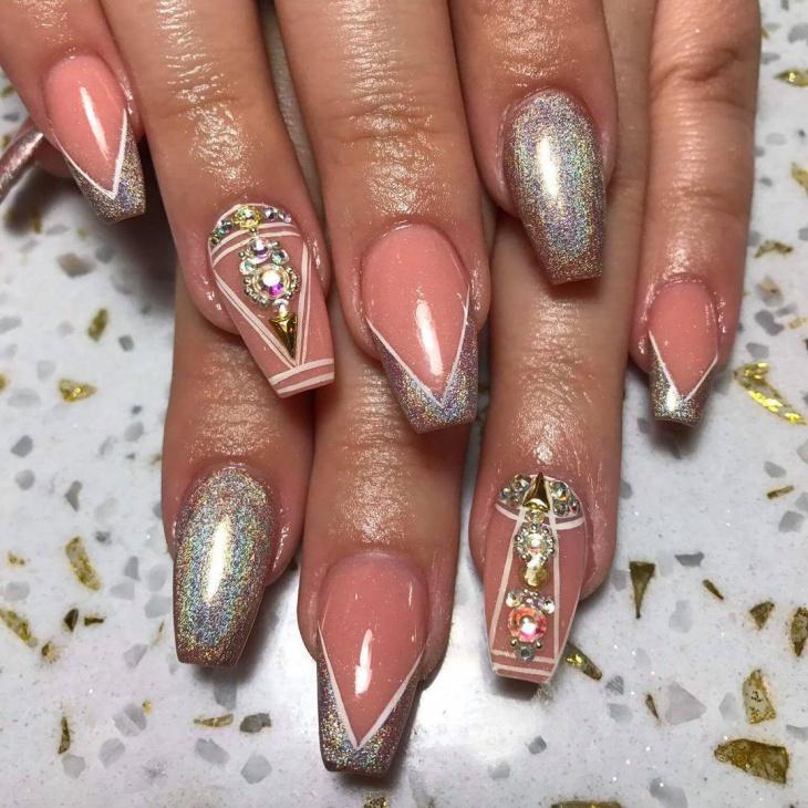 spring glitter gel nail design