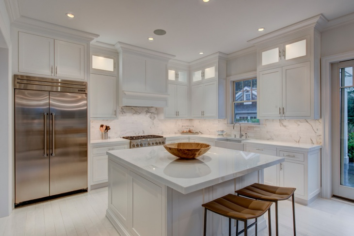 Square White Kitchen Island .